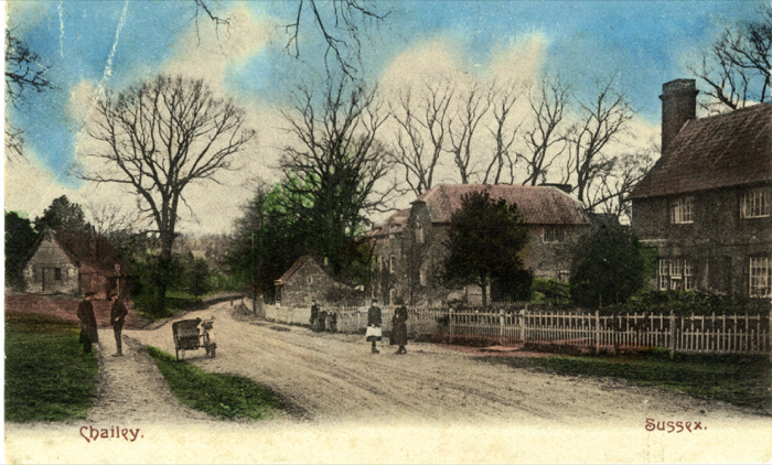 Old Chailey - The road leading to Reading Room next to the green.